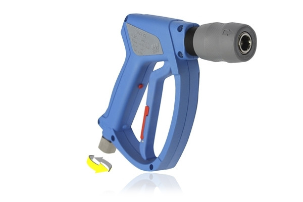 SGS35 LIGHT BLUE SWIVEL INLET WASH GUN WITH KCS45 QUICK RELEASE COUPLING