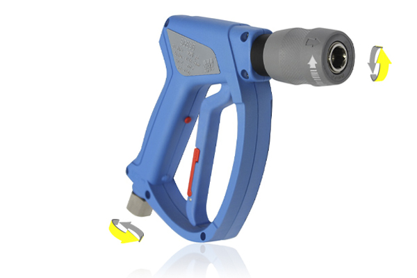 SGS35 LIGHT BLUE SWIVEL INLET WASH GUN WITH KCS45 R QUICK RELEASE COUPLING