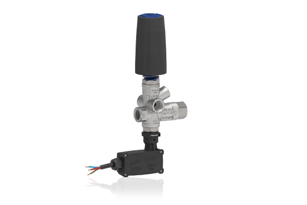 BRV31 T NICKEL PLATED PRESSURE REGULATING UNLOADER VALVE WITH PRESSURE PORT, MICROSWITCH AND KNOB